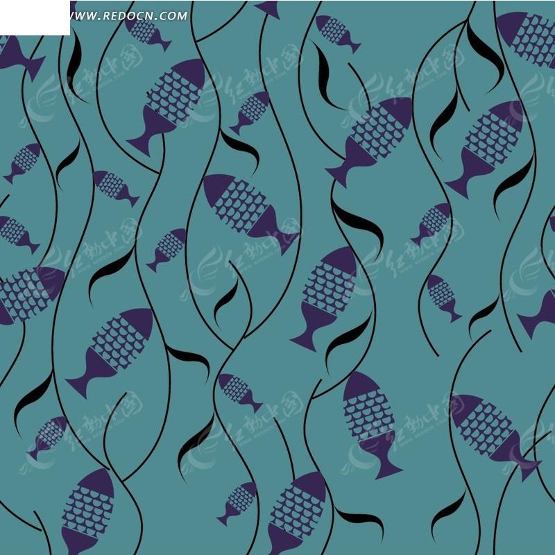 沉稳抽象平面鱼儿图案底纹设计psd素材图片