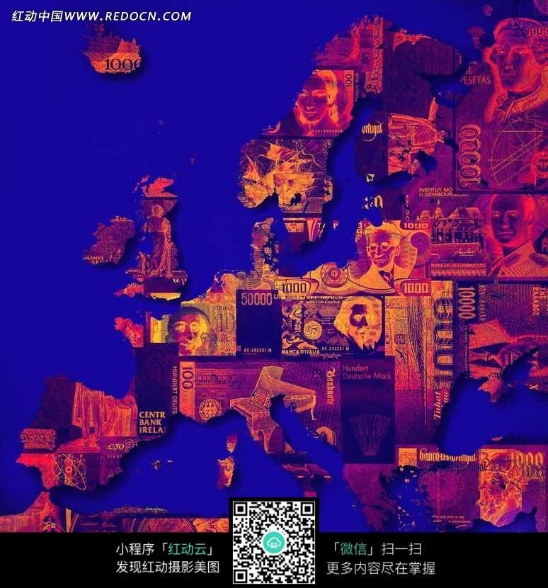 各国钱币组成的欧洲地图