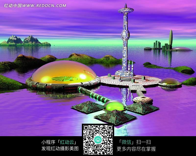 紫色海面上的未来风格建筑和高塔