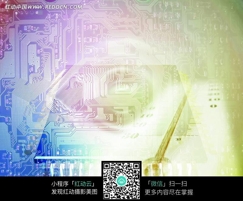 五彩绚丽的电路板背景图图片
