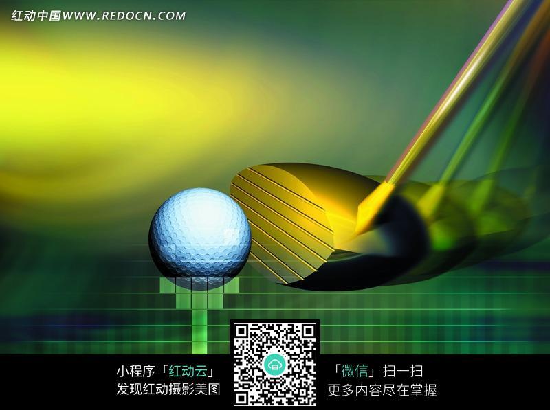 数码草坪上的高尔夫球杆和球