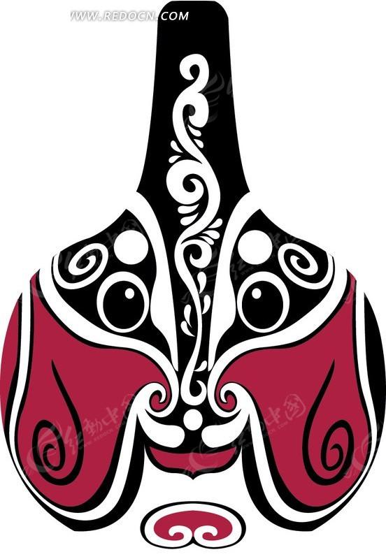 颊的黑白花纹的马勺脸谱矢量图