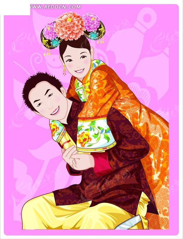 中国古装卡通人物-背着女子的男子