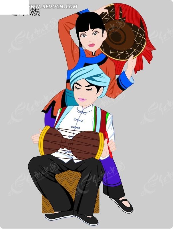 毛南族卡通人物矢量图