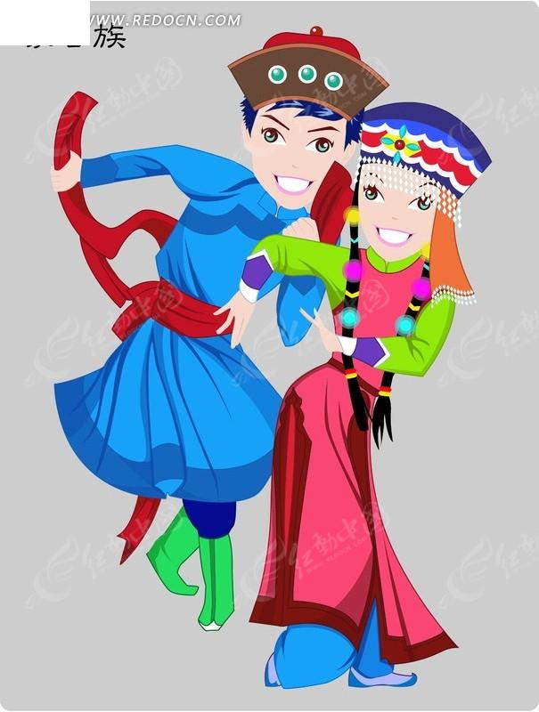 蒙古族卡通人物矢量图