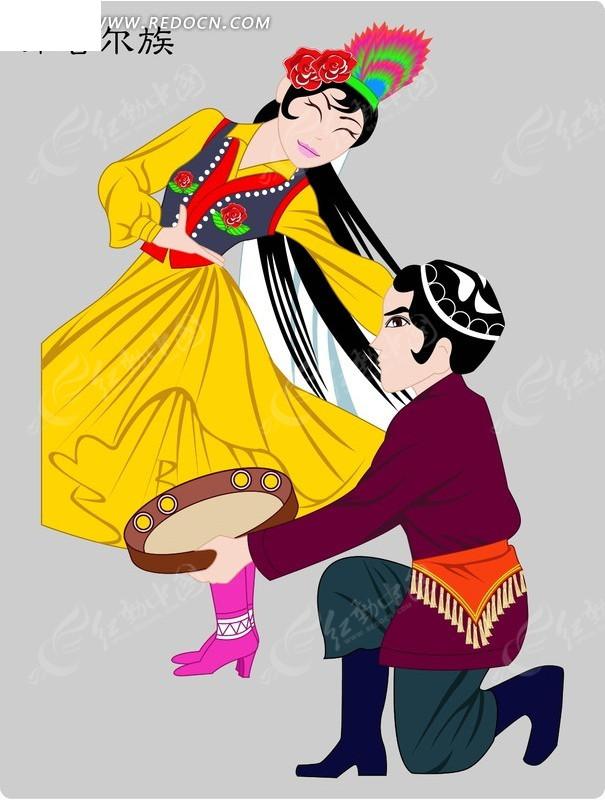 维吾尔族卡通人物矢量图