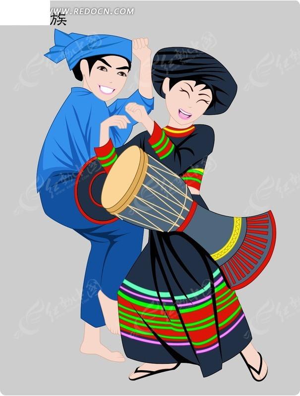 拉祜族卡通人物psd素材