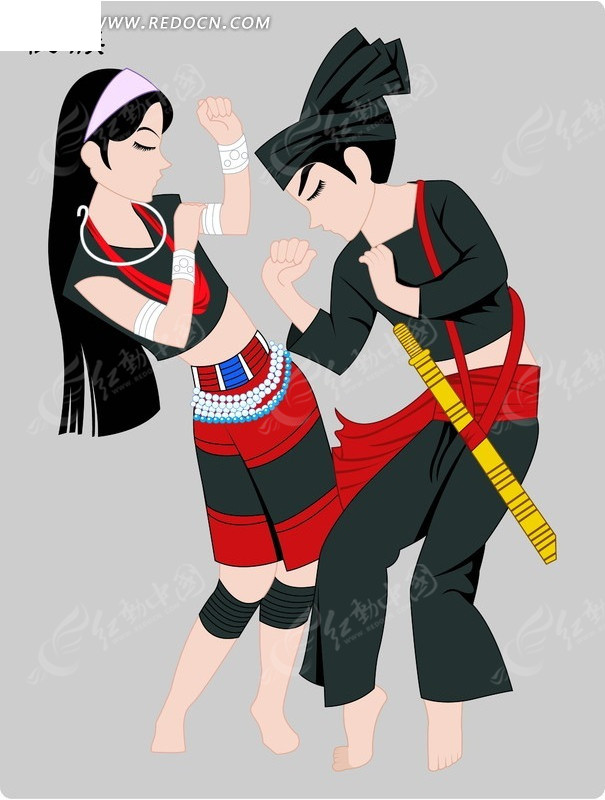 佤族手绘男女传统服饰