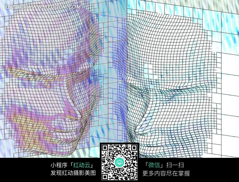 手绘三维空间人像脸谱图片