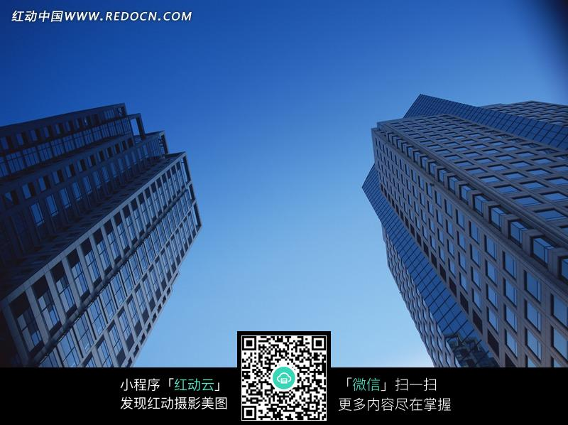 蓝天下两栋高楼的仰视图图片