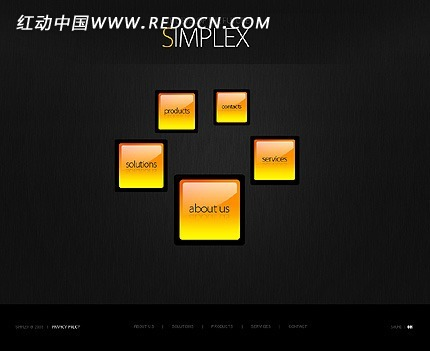 外国黄色网址登录_欧美简洁黑色背景黄色水晶按钮网页源码[源码]