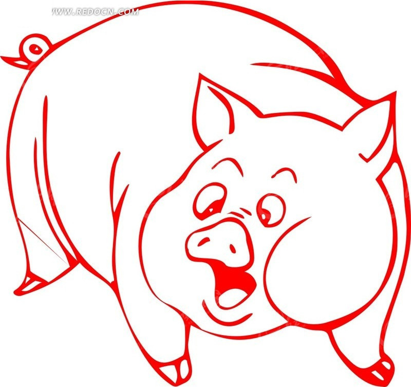 一只红色的肥猪