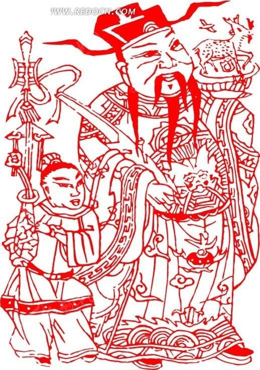 中国古代对联门画矢量素材矢量图_元旦春节
