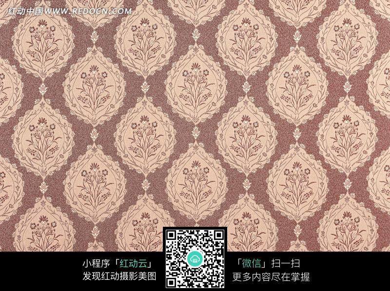 褐色底淡粉欧式花纹布艺图片