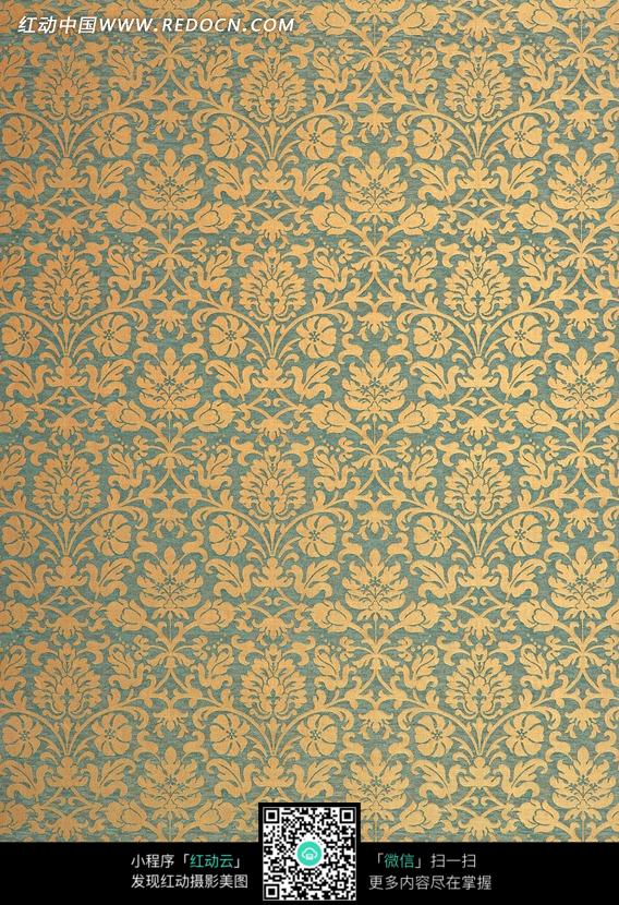 蓝底黄色花纹布艺图片_底纹背景图片图片
