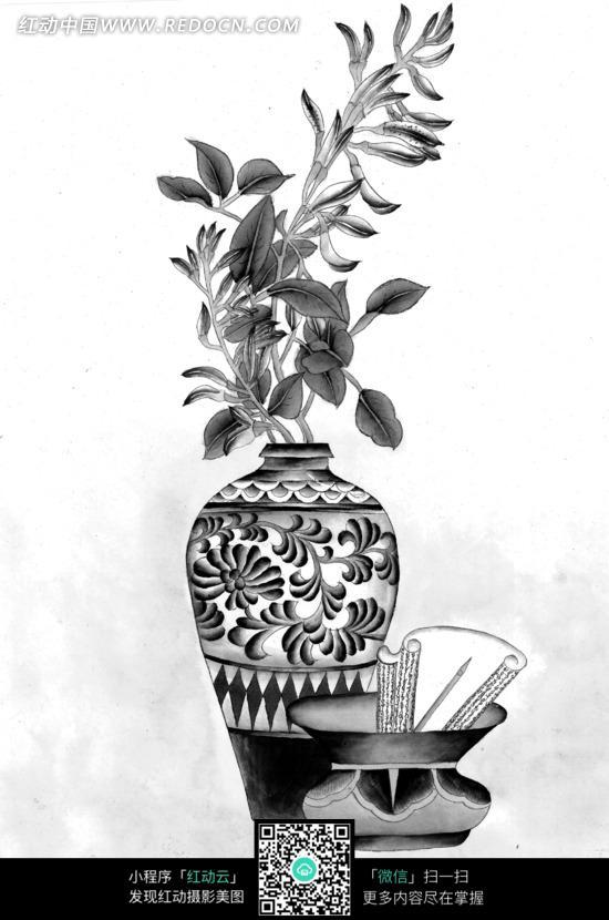 工笔画之坛子和花瓶里的花朵图片