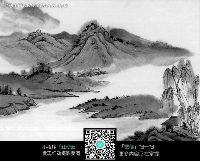 水墨画之高山下柳树下的小屋图片免费下载 红动网图片
