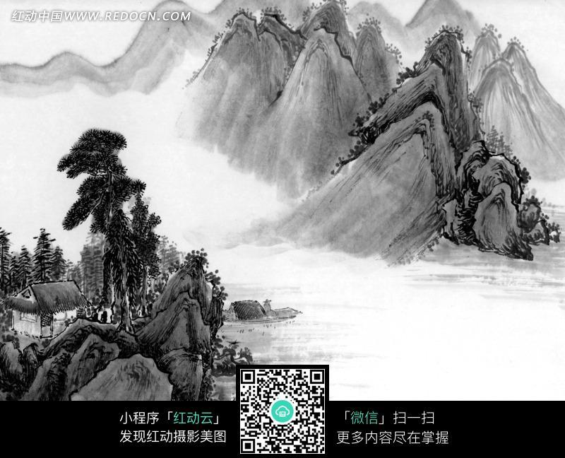 免费素材 图片素材 文化艺术 书画文字 水墨画之高山和山下的房屋