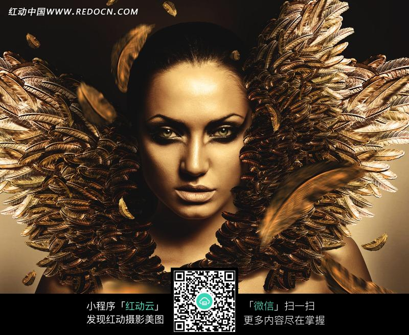 创意时尚彩妆羽毛金色美女图片