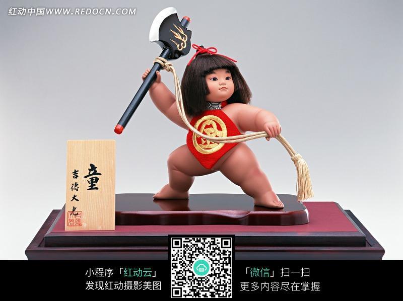 日本娃娃人偶拿大斧头图片