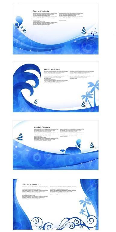 蓝色浪花和海鸥卡通画 手绘高高卷起的蓝色浪花 手绘蓝色浪花和游泳的