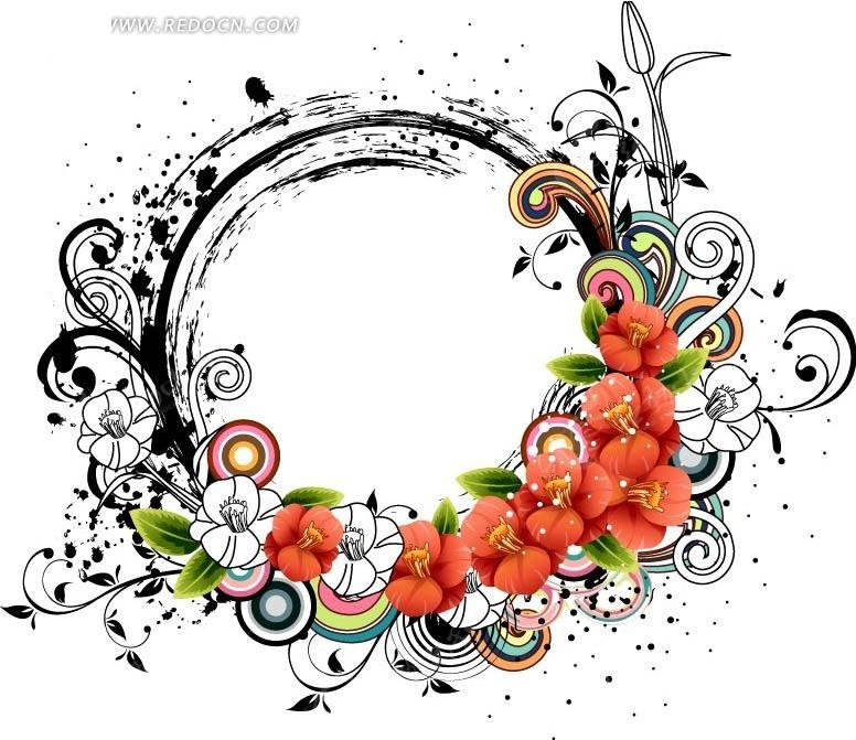 免费素材 矢量素材 花纹边框 花纹花边 > 炫酷潮流花朵圆环组成圆形