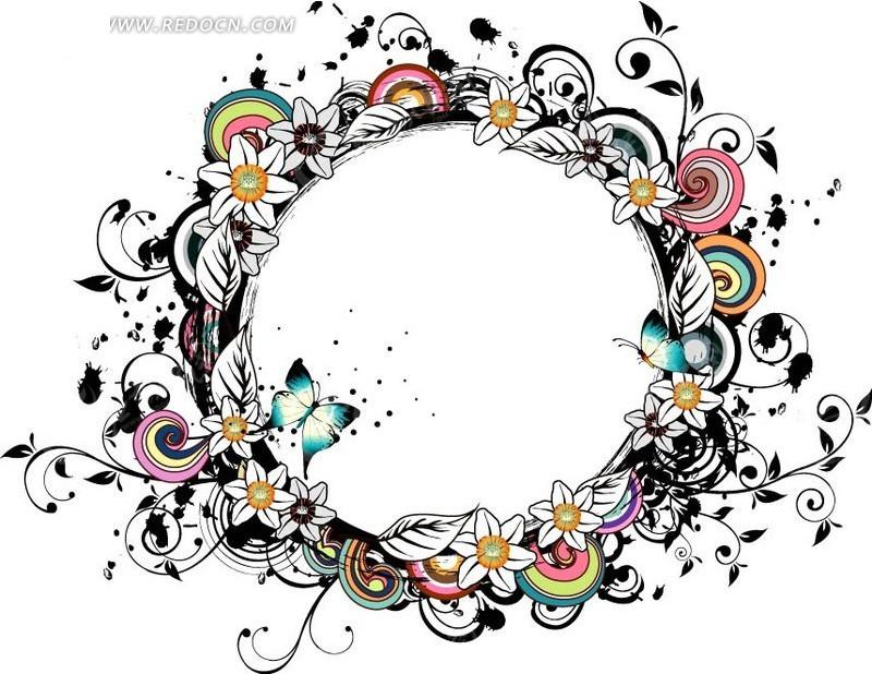 炫酷潮流花朵组成圆形矢量素材图片