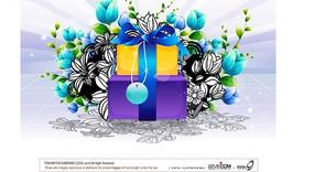 鲜花围绕的彩色礼品盒