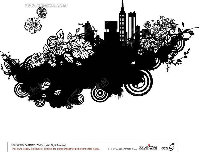 城市花朵枝叶圆形