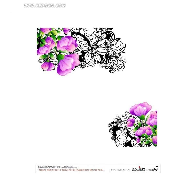 对角紫色花朵白描花纹设计矢量图