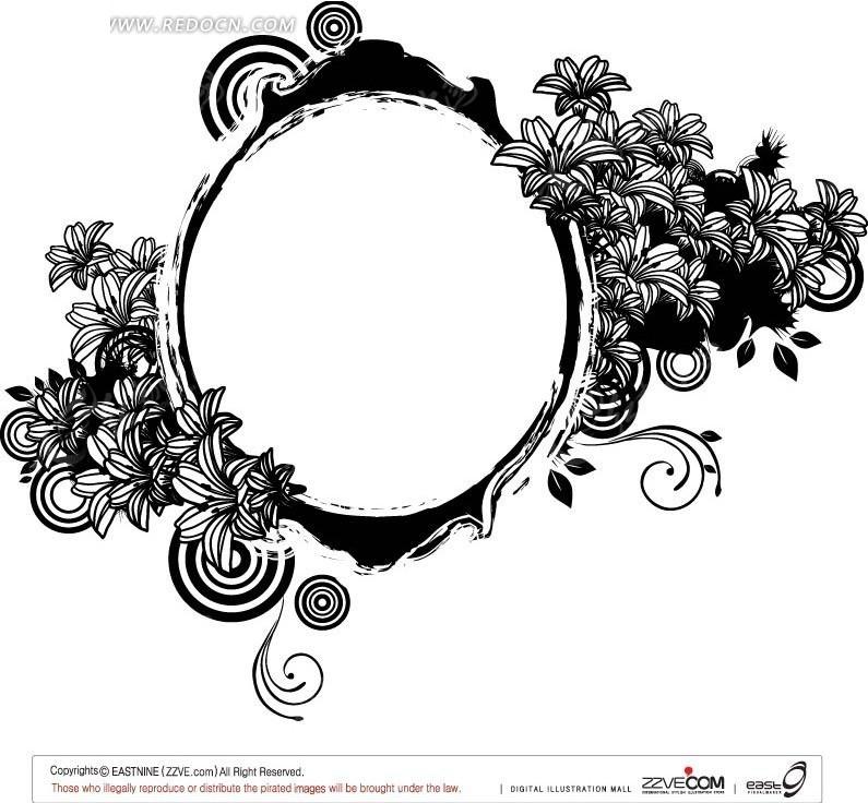 潮流黑白圆环花朵矢量素材图片