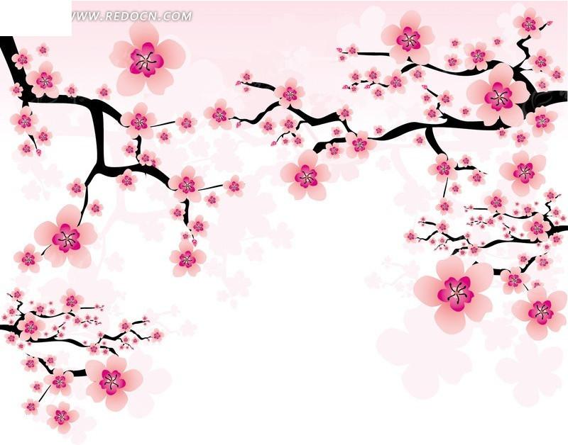 唯美粉红桃花矢量素材eps免费下载_花草树木