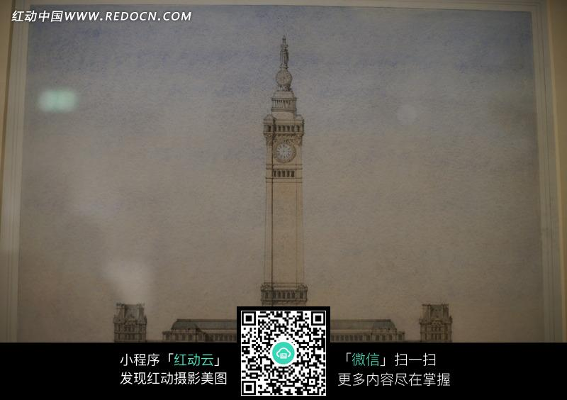 广场上的高大钟楼设计图稿