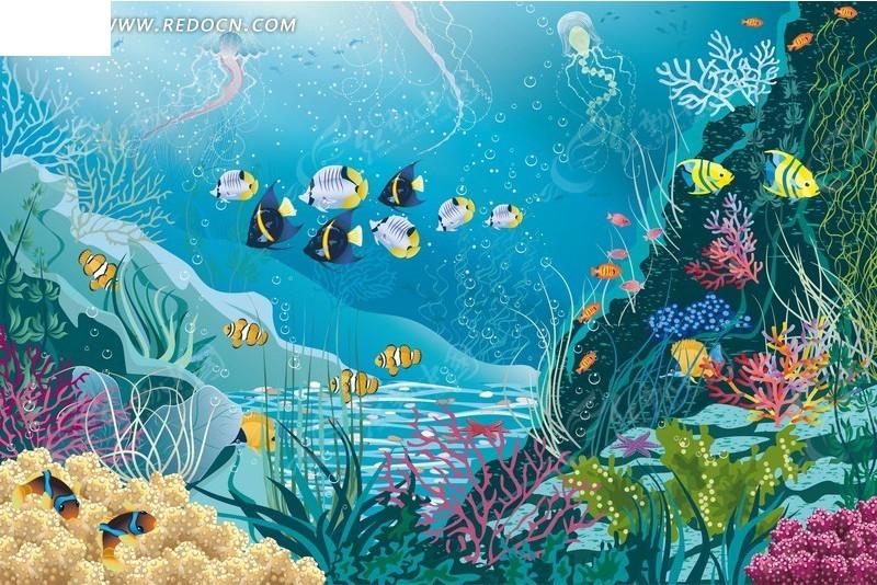 海底世界 鱼 珊瑚 礁石