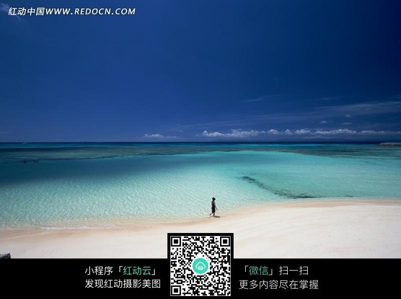 蓝天白云下海边沙滩上散步的人图片图片