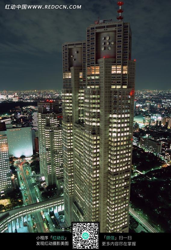 手机 城市/繁华的城市高楼大厦夜景