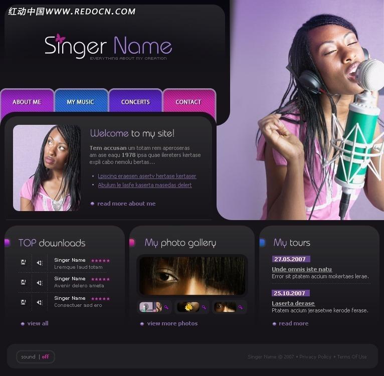 个人演唱网站网页模板图片