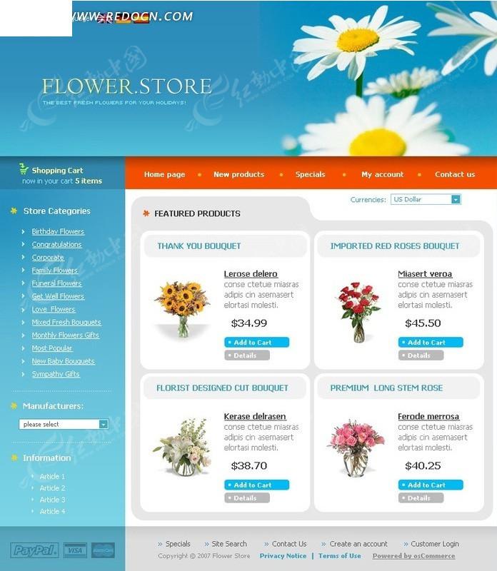 免费素材 网页模板 网页模板 欧美模板 欧美花店宣传网站网页源码  请图片