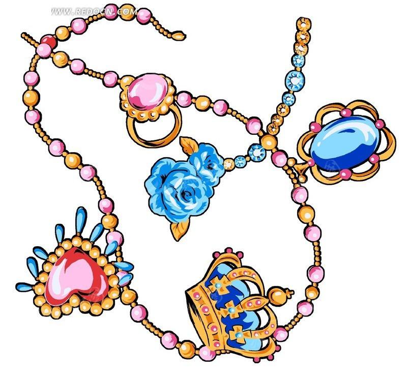 免费素材 psd素材 psd花纹边框 花纹花边 手绘卡通珠宝首饰插画设计
