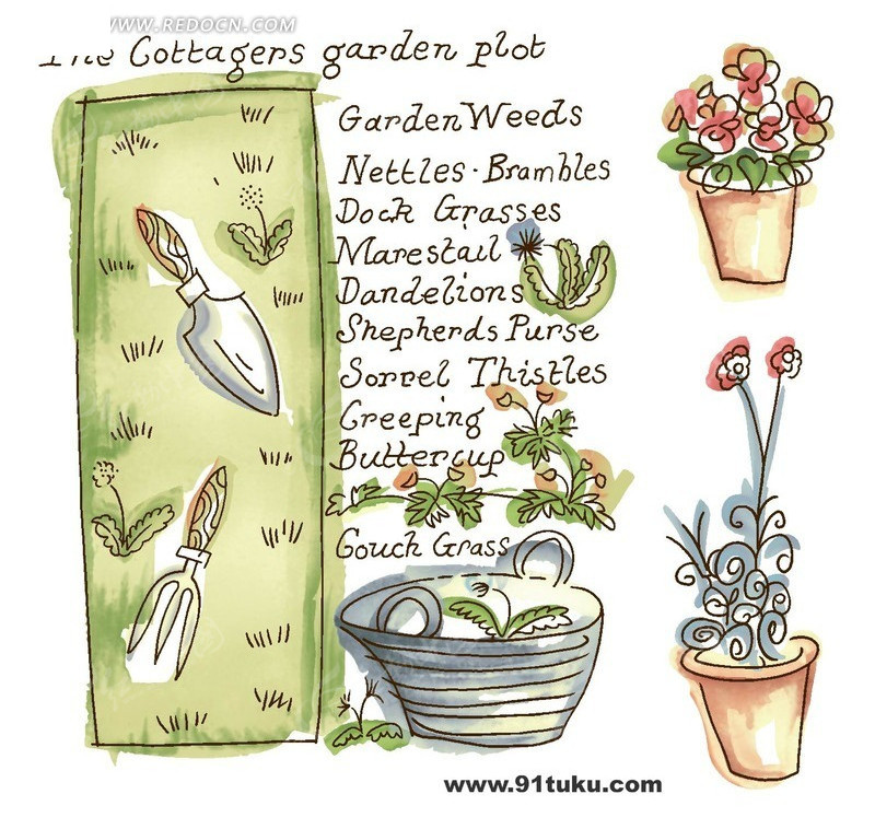 盆栽和花地里的铲子的速写画PSD分层素材