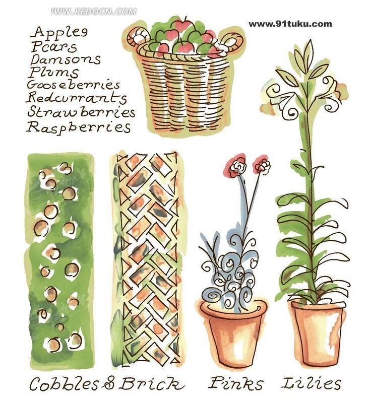 手绘植物花朵盆栽插画设计文件图片