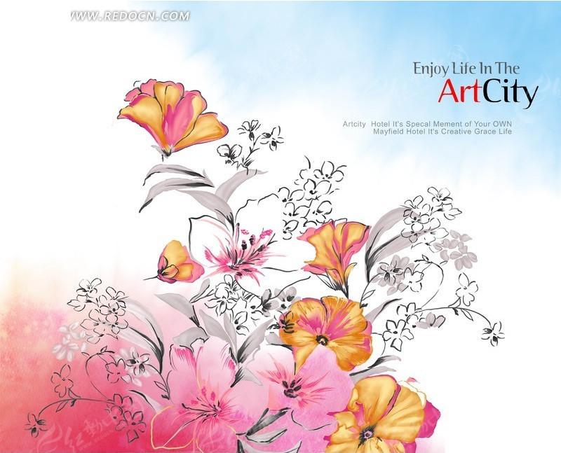 手绘彩色线稿花朵花卉插画设计文件图片