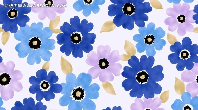蓝色花朵 花卉 手绘插画 分层文件 时尚花瓣 花纹 花纹素材 花边 花边