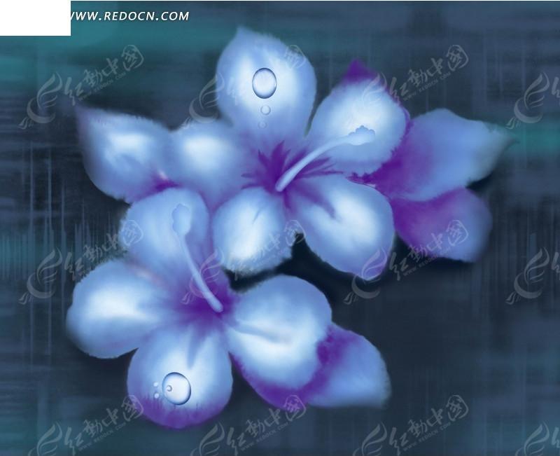 手绘水彩画蓝色花朵花瓣插画素材