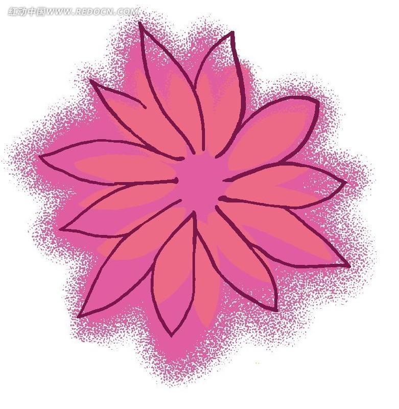 手绘卡通粉色花瓣植物插画稿件