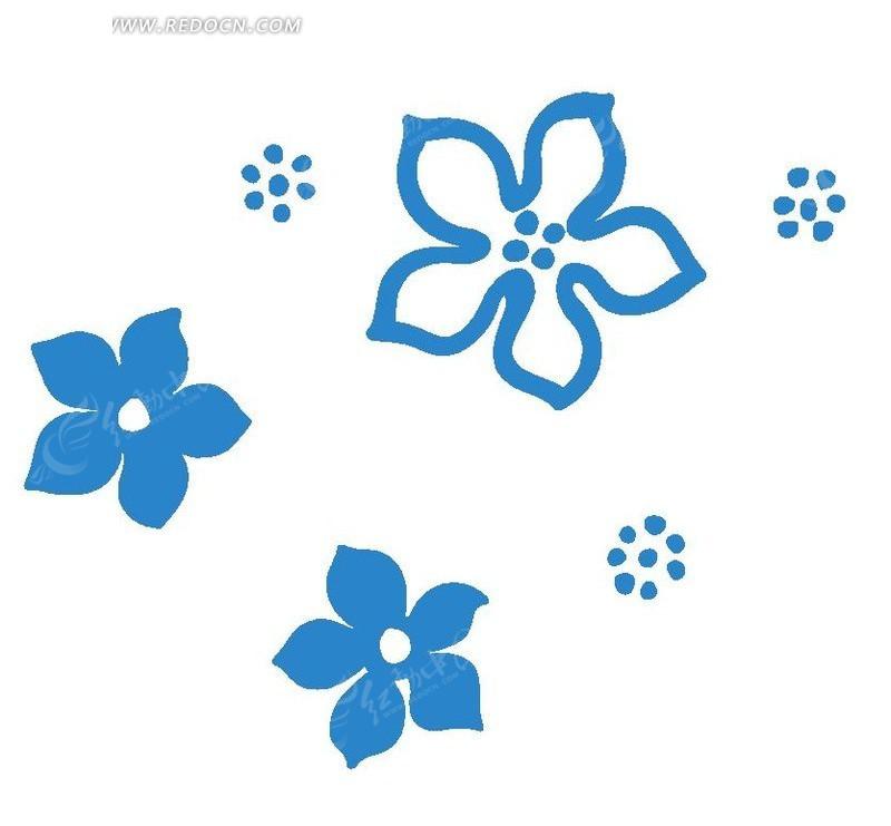 花纹 花朵 手绘 图案 蓝色 简单 花 psd素材 花纹素材 花边 花边素材