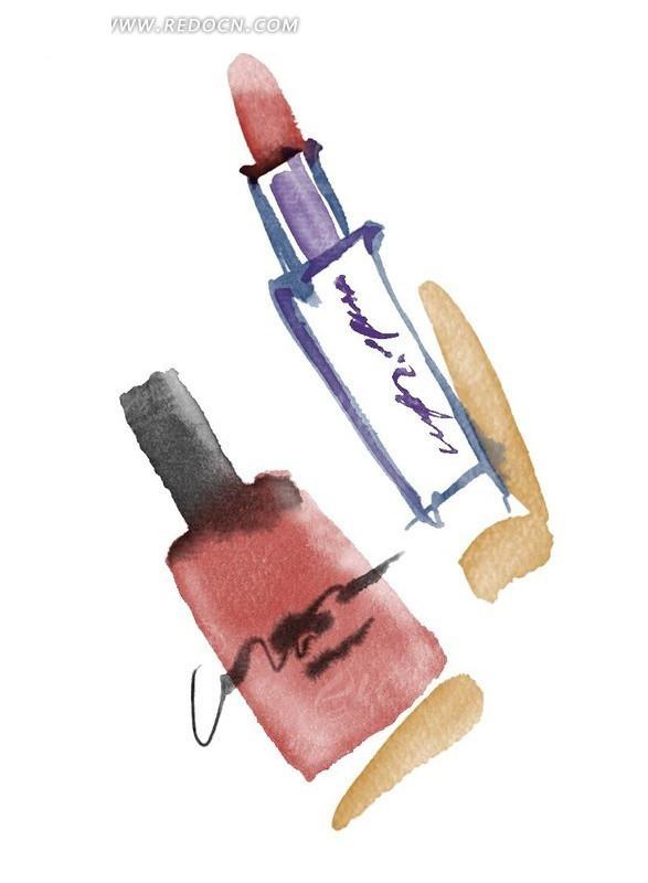 手绘女人唇膏和指甲油psd免费下载_花纹花边素材