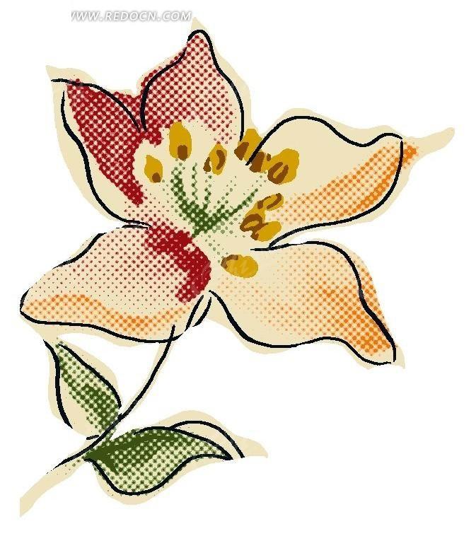 手绘彩色花朵卡通插画文件