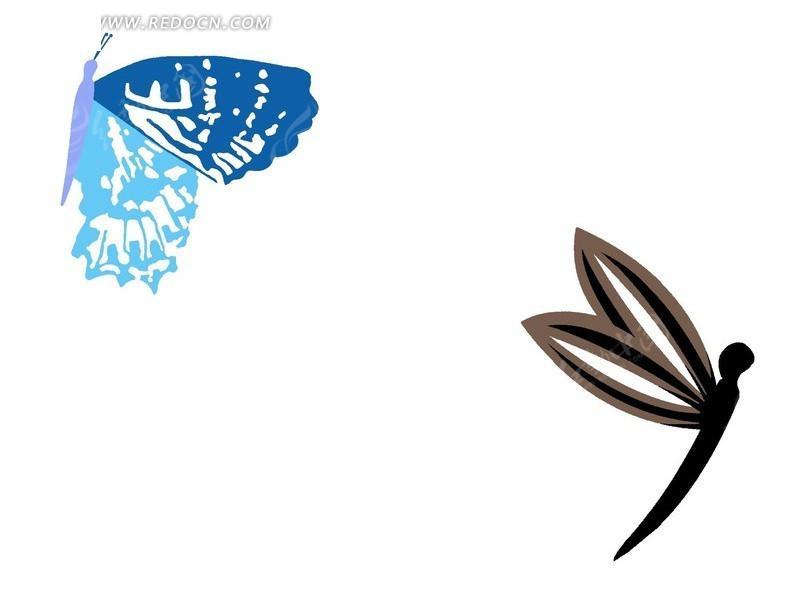 手绘蝴蝶和蜻蜓
