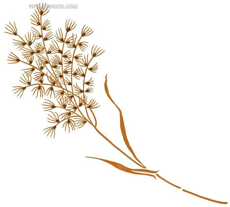 手绘植物线条插画设计文件